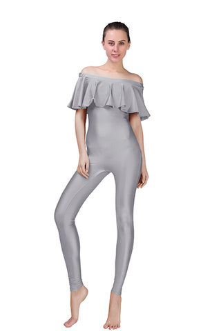 Disco Chic Frilled Off Shoulder Unitard