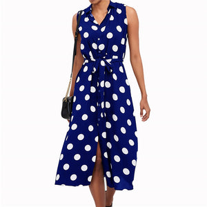 Connect The Dots Button Down Chiffon Dress