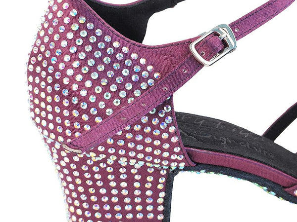 Purple Satin Bling Dance Shoes - DeltaDancewear
