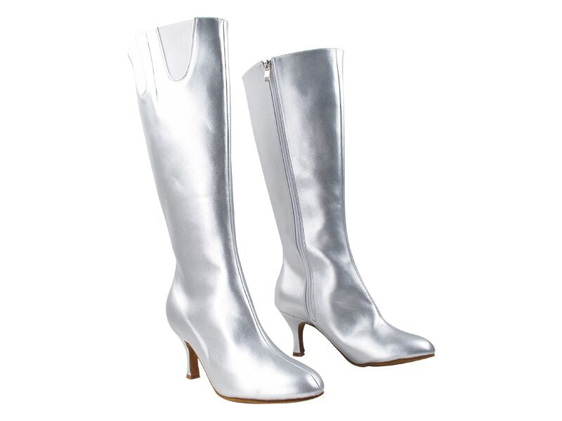 Silver Moonlight Knee-Length Dance Boots - DeltaDancewear