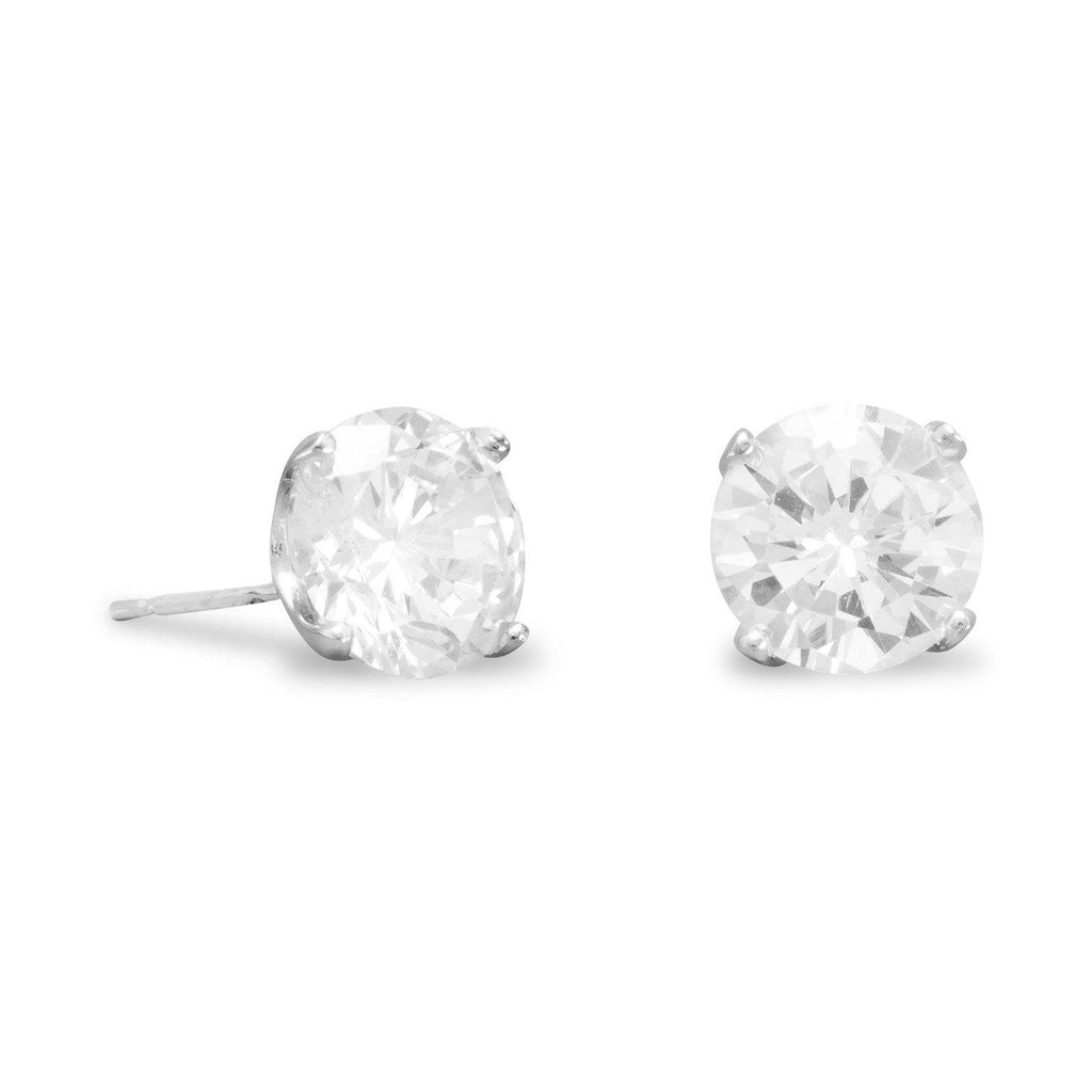 8mm CZ Rhodium Plated Stud Earrings