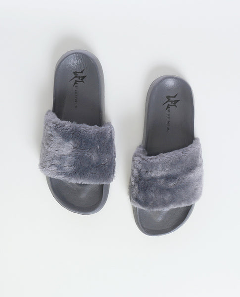 Cotton Candy Gray Faux Fur Slippers LFL by Lust For Life - Piin | ShopPiin.com