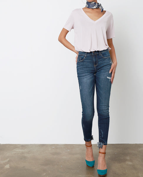 Rebecca Distressed Skinny Jeans - Blue