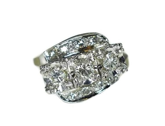 Estate 14k Diamond 3 Stone Ring, Art Deco Engagement Ring - Premier Estate Gallery