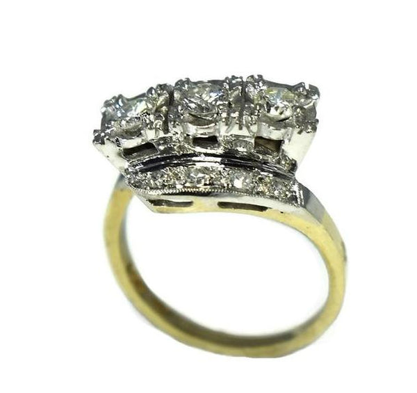 Estate 14k Diamond 3 Stone Ring, Art Deco Engagement Ring - Premier Estate Gallery 2