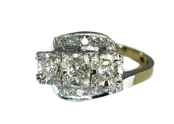 Estate 14k Diamond 3 Stone Ring, Art Deco Engagement Ring - Premier Estate Gallery 3