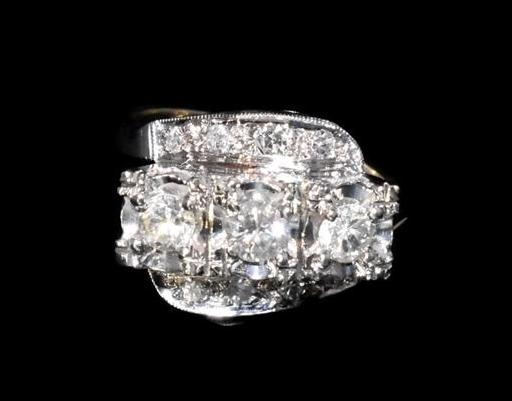 Estate 14k Diamond 3 Stone Ring, Art Deco Engagement Ring