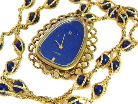 Rare Vintage Omega Watch Pendant Necklace 14k Gold and Lapis - Premier Estate Gallery  - 1