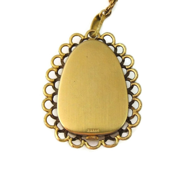 Rare Vintage Omega Watch Pendant Necklace 14k Gold and Lapis - Premier Estate Gallery  - 6