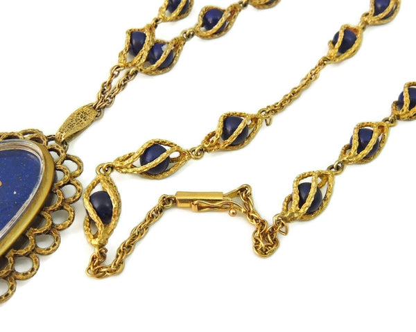 Rare Vintage Omega Watch Pendant Necklace 14k Gold and Lapis - Premier Estate Gallery  - 3