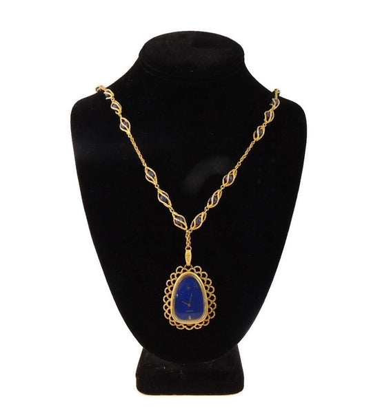 Rare Vintage Omega Watch Pendant Necklace 14k Gold and Lapis - Premier Estate Gallery  - 4
