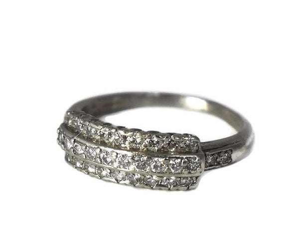 Estate Three Row Diamond Wedding Band Platinum Vintage .63 ctw - Premier Estate Gallery 3