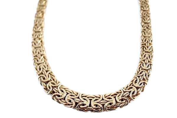 Vintage 14k Gold Byzantine Necklace Wide Heavy Link - Premier Estate Gallery 1