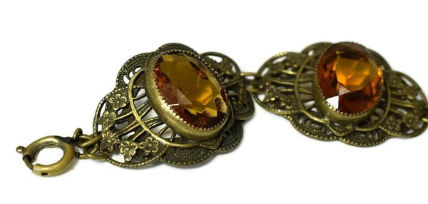 Art Deco Citrine Czech Glass Bracelet Ornate Brass Filigree Setting Large Stones - Premier Estate Gallery 3
