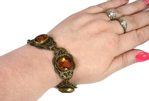 Art Deco Citrine Czech Glass Bracelet Ornate Brass Filigree Setting Large Stones - Premier Estate Gallery 4