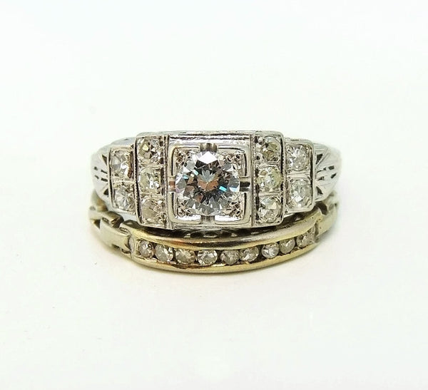 Art Deco 19k White Gold Diamond Ring Wedding Set - Premier Estate Gallery  - 2