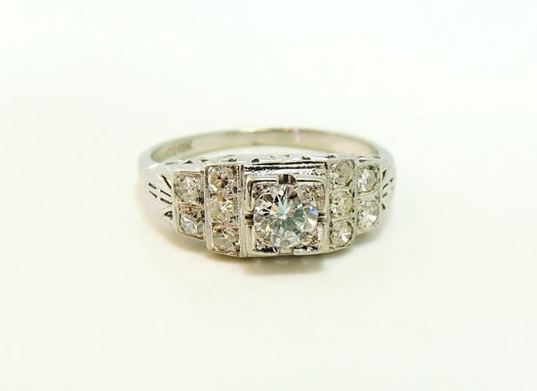 Art Deco 19k White Gold Diamond Ring Wedding Set - Premier Estate Gallery  - 3