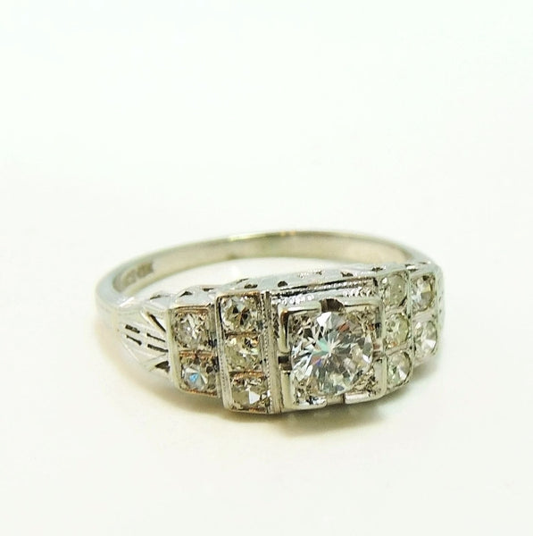 Art Deco 19k White Gold Diamond Ring Wedding Set - Premier Estate Gallery  - 7