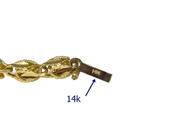 Estate 14k Gold Fancy Link Chain 24 inch