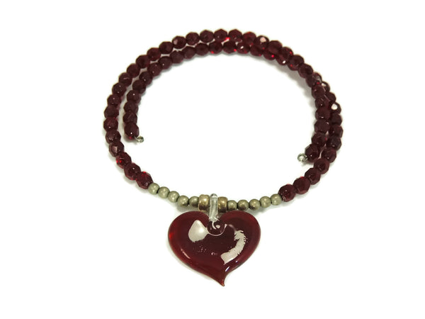Ruby Red Crystal Heart Art Glass Necklace - Premier Estate Gallery  - 3