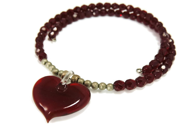 Ruby Red Crystal Heart Art Glass Necklace - Premier Estate Gallery  - 1
