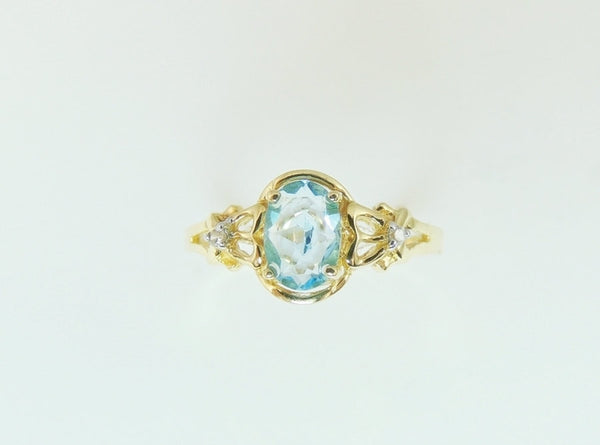 Swiss Blue Topaz Ring 14k Gold Diamond Accents - Premier Estate Gallery  - 2