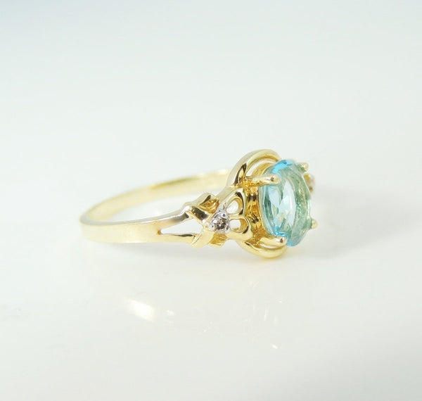 Swiss Blue Topaz Ring 14k Gold Diamond Accents - Premier Estate Gallery  - 3