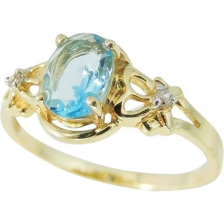 Swiss Blue Topaz Ring 14k Gold Diamond Accents - Premier Estate Gallery  - 1