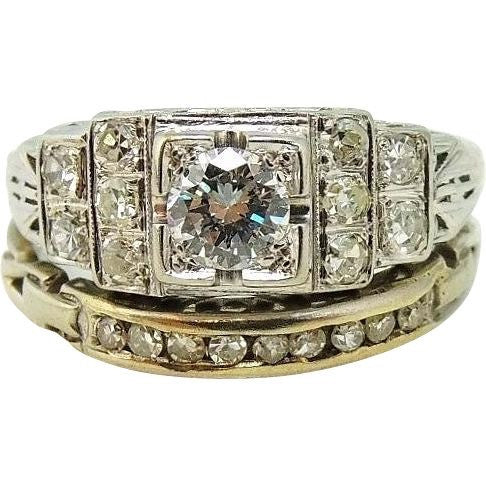 Art Deco 19k White Gold Diamond Ring Wedding Set - Premier Estate Gallery  - 1