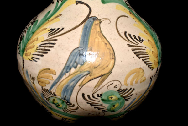 19th Cent Tin Glaze Stoneware Earthenware Jug with Bird and Fern Decoration Italy - Premier Estate Gallery