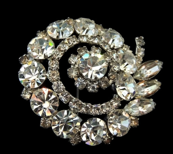 Vintage Rhinestone Fantail Brooch Hollywood Glamour - Premier Estate Gallery  - 2