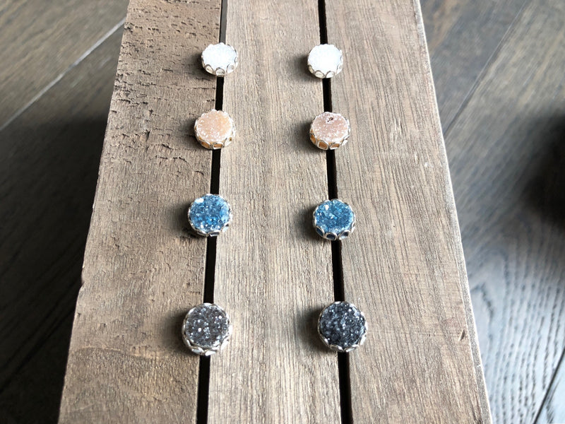 Round Druzy Petal Earrings
