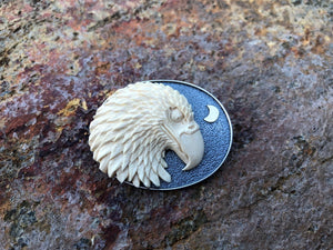 Night Eagle with 14kt Gold Moon Pin/ Pendant