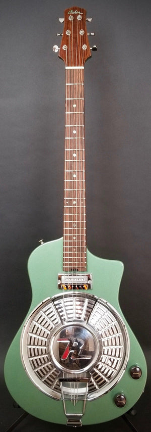 SOLD 2018 Asher Resosonic Rambler with Handcut Original 58 Rambler Hubcap, Mystic Green Metallic, #1069