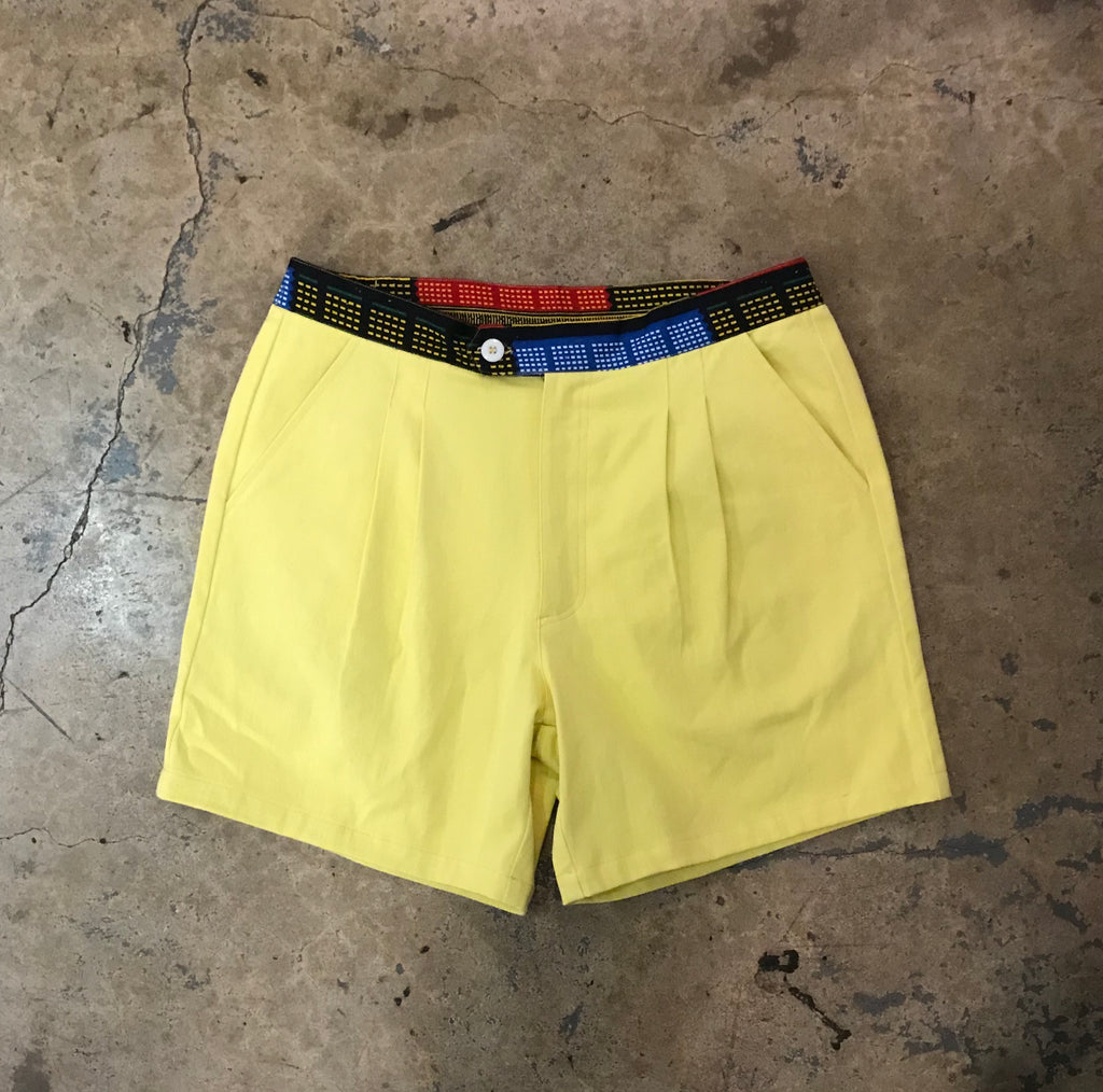 Yokishop - African Fabric Chiffon Yellow Shorts