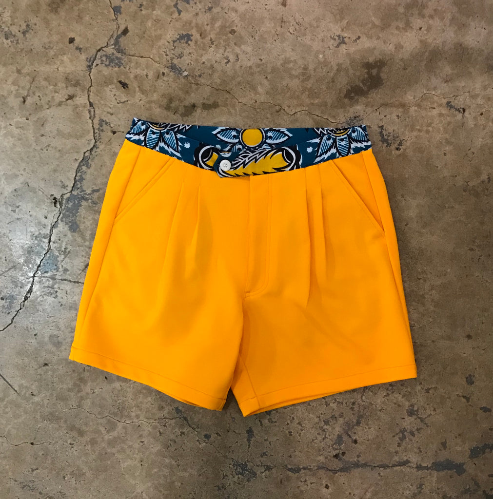 Yokishop - African Fabric Old Gold Shorts