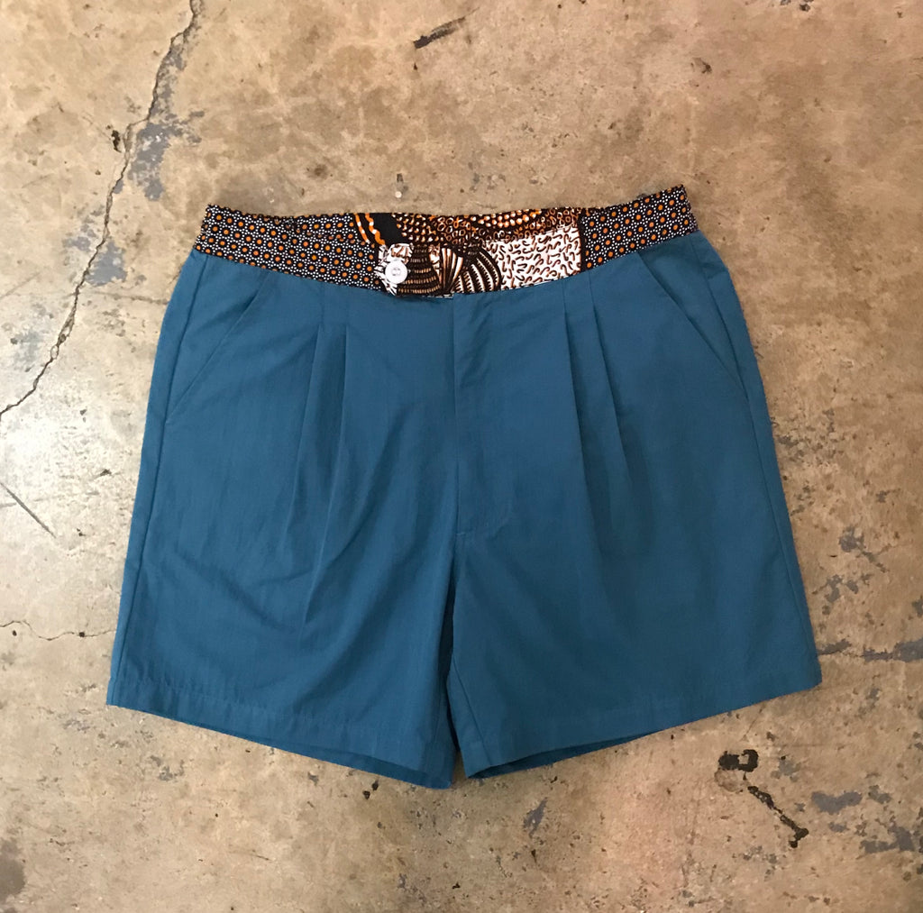 Yokishop - African Fabric Poplin Teal Shorts