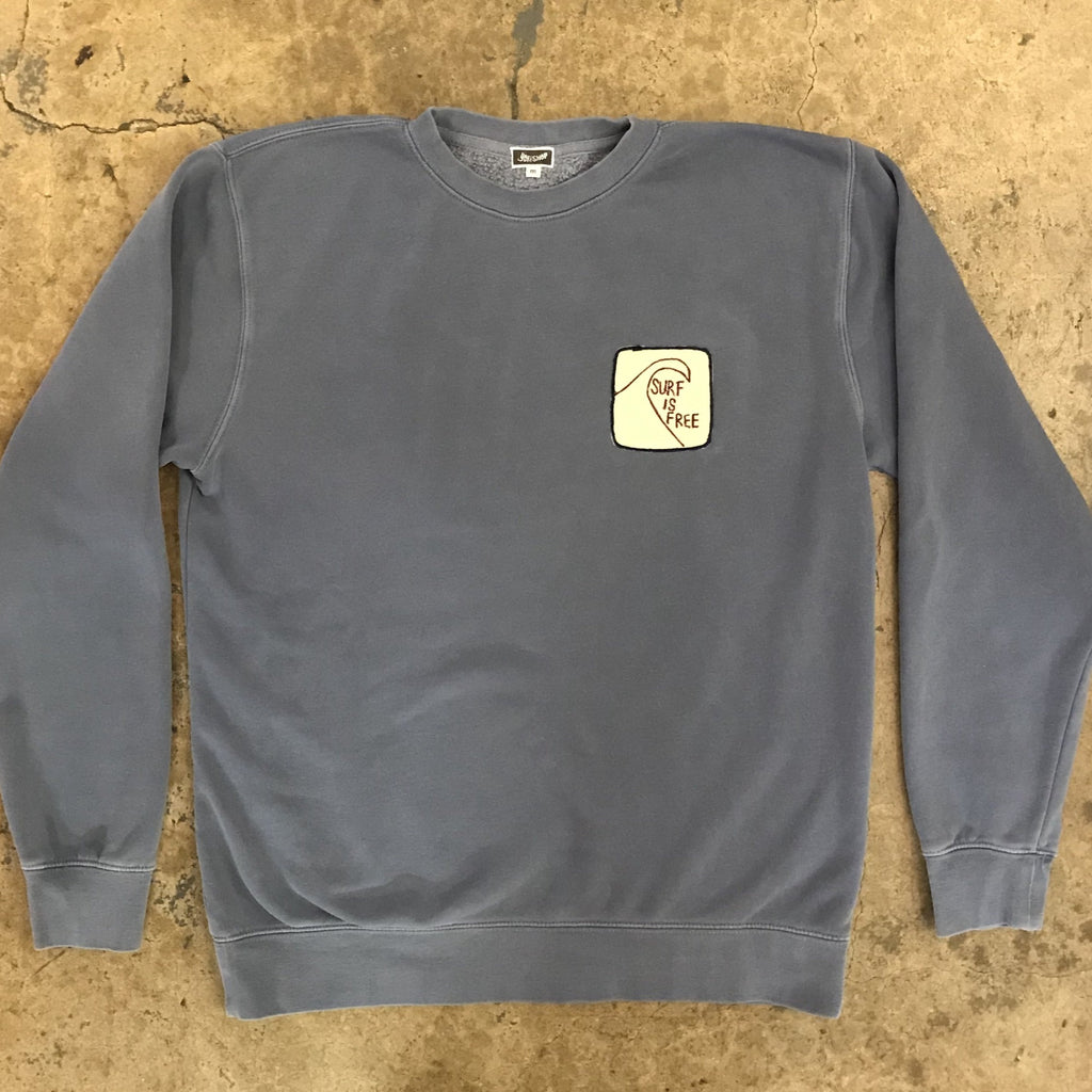 "Yokishop - Over Dyed Crewneck Sweatshirt w/ Felt ""Surf Is Free"" Patch"