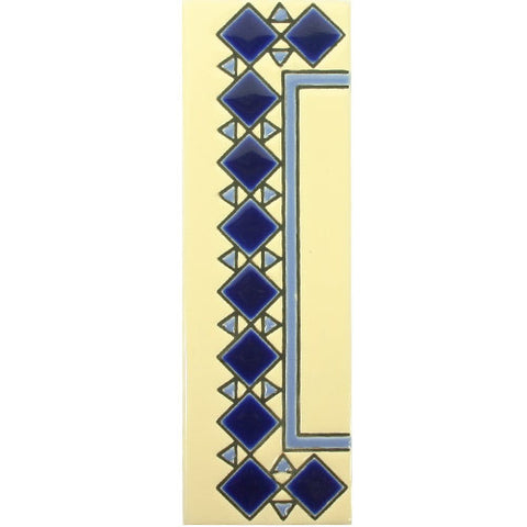 Blue diamond end piece for number tile