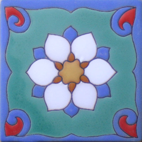 Raised relief Arts and Crafts tile--Delicada II