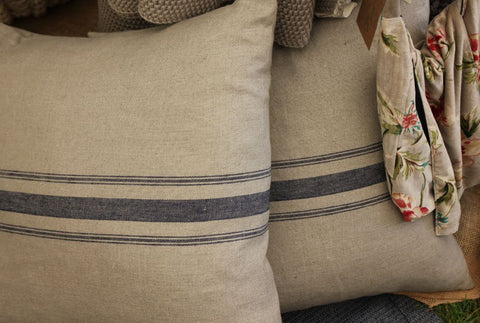 Large Linen Cushion with Navy Stripes