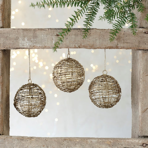 Brass Wire Opening Bauble - Set of Three - Greige - Home & Garden - Chiswick, London W4