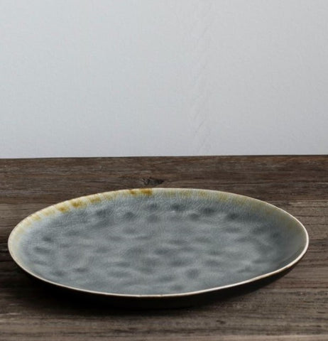 grey crackle stoneware side plate