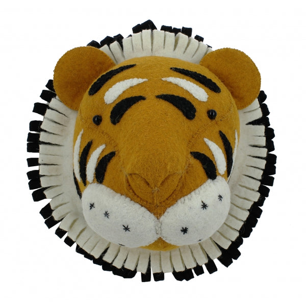Mini Tiger Felt Wall Head by Fiona Walker