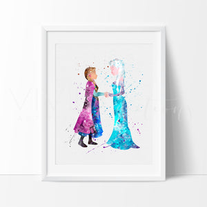 Elsa and Anna Frozen Princess Nursery Art Print Wall Decor