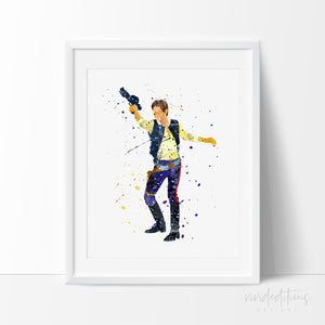 Han Solo Star Wars Poster, Han Solo Watercolor Art Print, Star Wars Story Nursery Art Print , Kids Baby Decor, Wall Art Not Framed