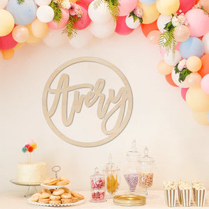 Birthday Party Backdrop Name Sign Wood Round Baby Shower Wedding