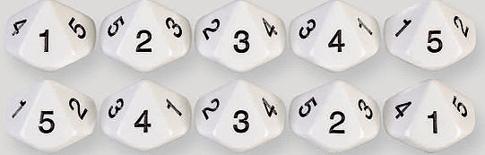 10 Sided Number Dice 1-5 Twice