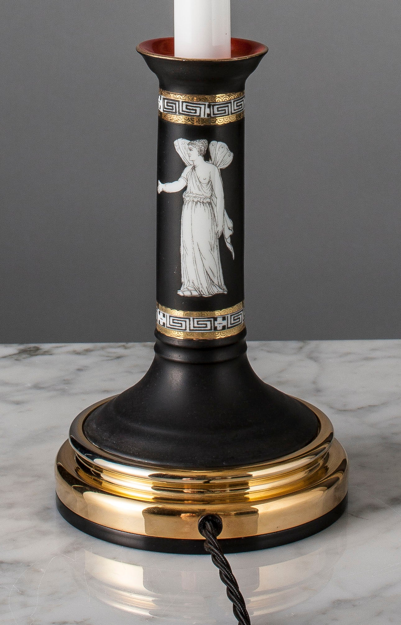 F037  A Smart Royal Bayreuth Greek Revival Matte Black Candlestick Lamp - Circa 1910