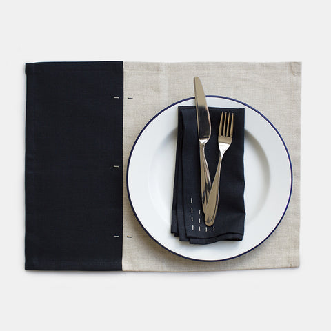 Two Tone Linen Placemats - Set of 4